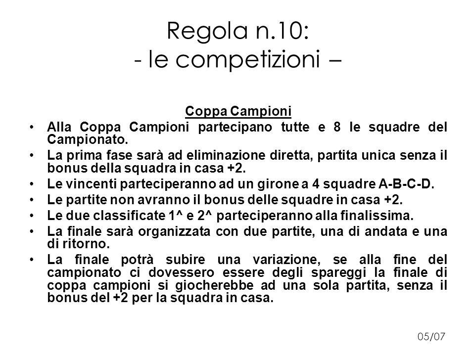 Regola n.10: - le competizioni – Coppa Campioni Alla Coppa Campioni partecipano tutte e 8 le squadre del Campionato.