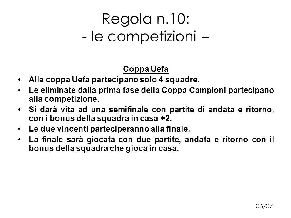 Regola n.10: - le competizioni – Coppa Uefa Alla coppa Uefa partecipano solo 4 squadre.