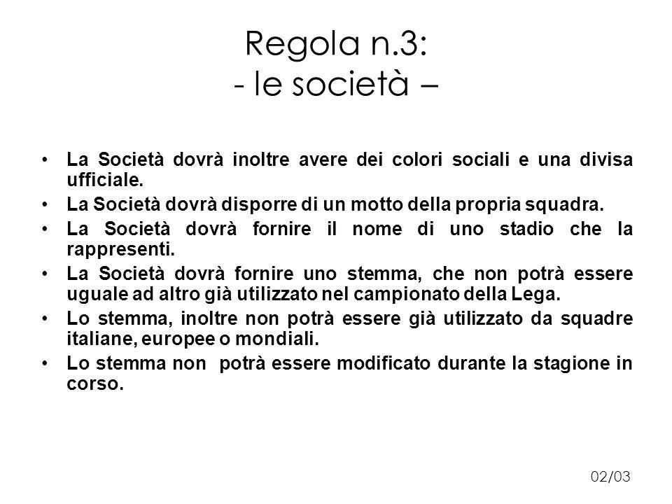 Regola n.3: - le società – La Società dovrà inoltre avere dei colori sociali e una divisa ufficiale.