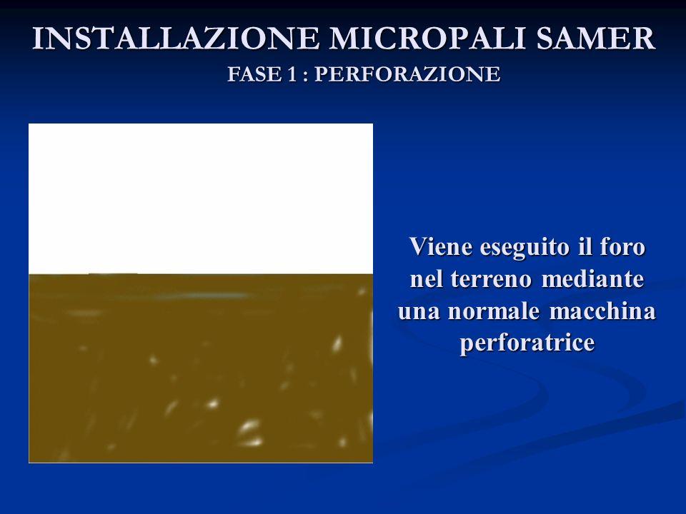 INSTALLAZIONE MICROPALI SAMER FASE 1 : PERFORAZIONE Viene eseguito il foro nel terreno mediante una normale macchina perforatrice