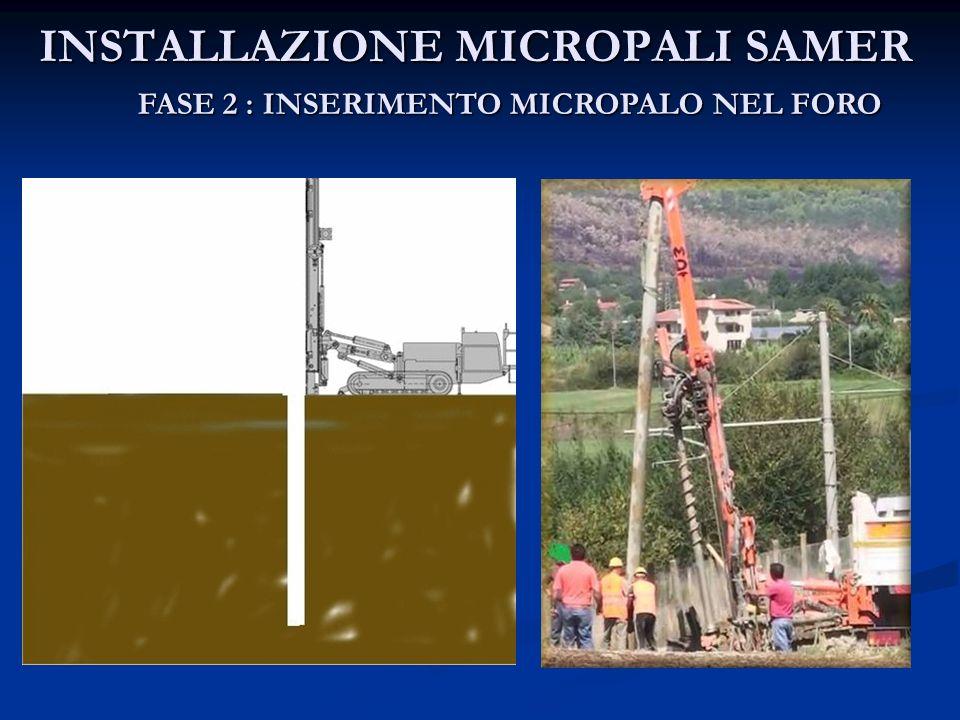 INSTALLAZIONE MICROPALI SAMER FASE 2 : INSERIMENTO MICROPALO NEL FORO