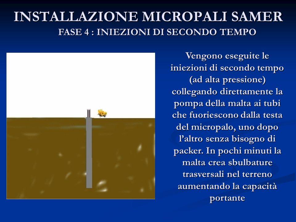 INSTALLAZIONE MICROPALI SAMER FASE 4 : INIEZIONI DI SECONDO TEMPO Vengono eseguite le iniezioni di secondo tempo (ad alta pressione) collegando dirett