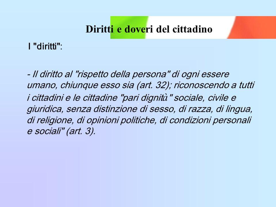 Diritti e doveri del cittadino - Il diritto al rispetto della persona di ogni essere umano, chiunque esso sia (art.