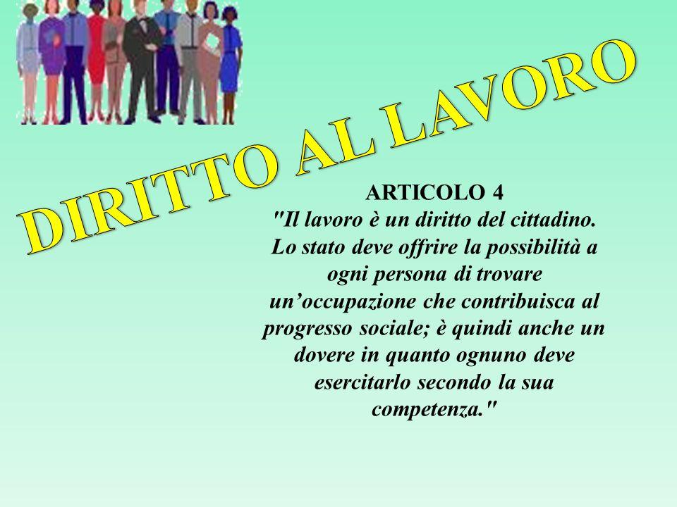ARTICOLO 4 Il lavoro è un diritto del cittadino.