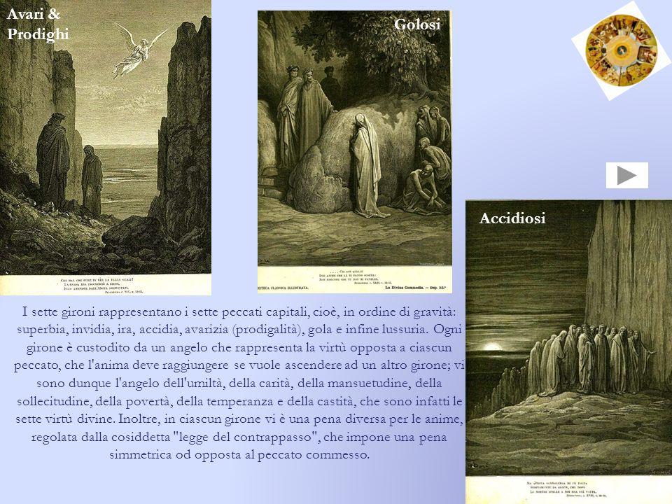 I sette gironi rappresentano i sette peccati capitali, cioè, in ordine di gravità: superbia, invidia, ira, accidia, avarizia (prodigalità), gola e inf