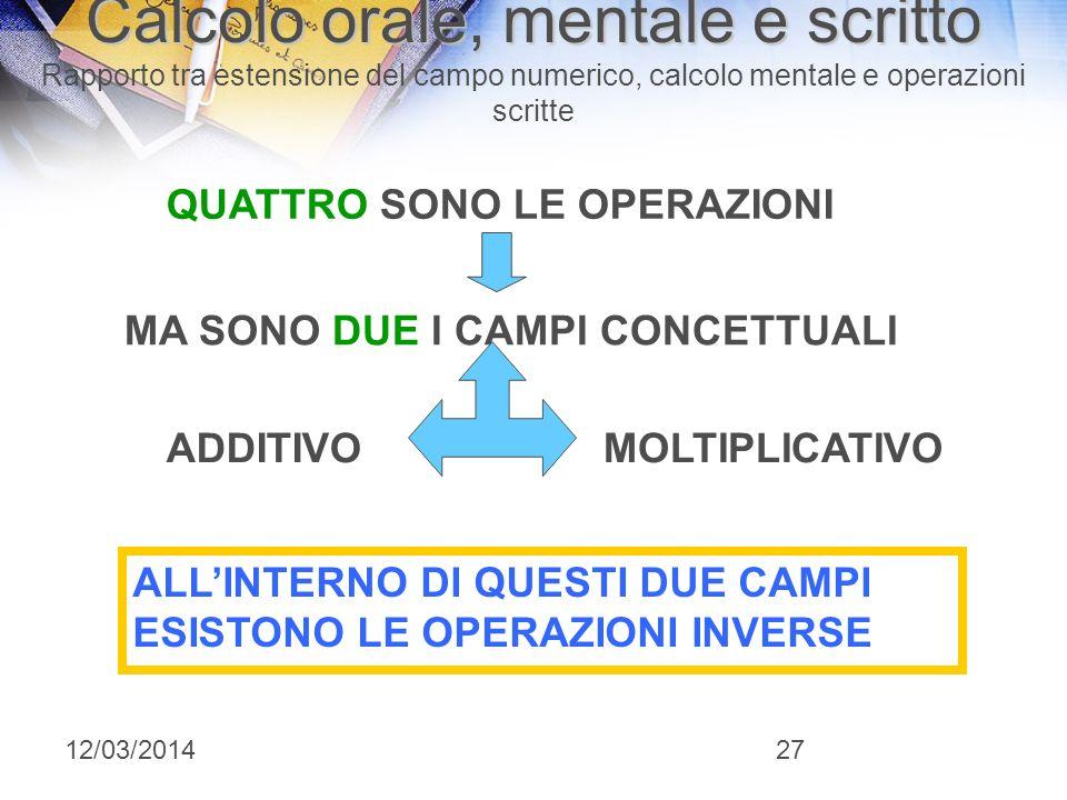 I fondamentali in 3°: CALCOLO ORALE, MENTALE E SCRITTO Rapporto tra estensione del campo numerico, calcolo mentale e operazioni scritte