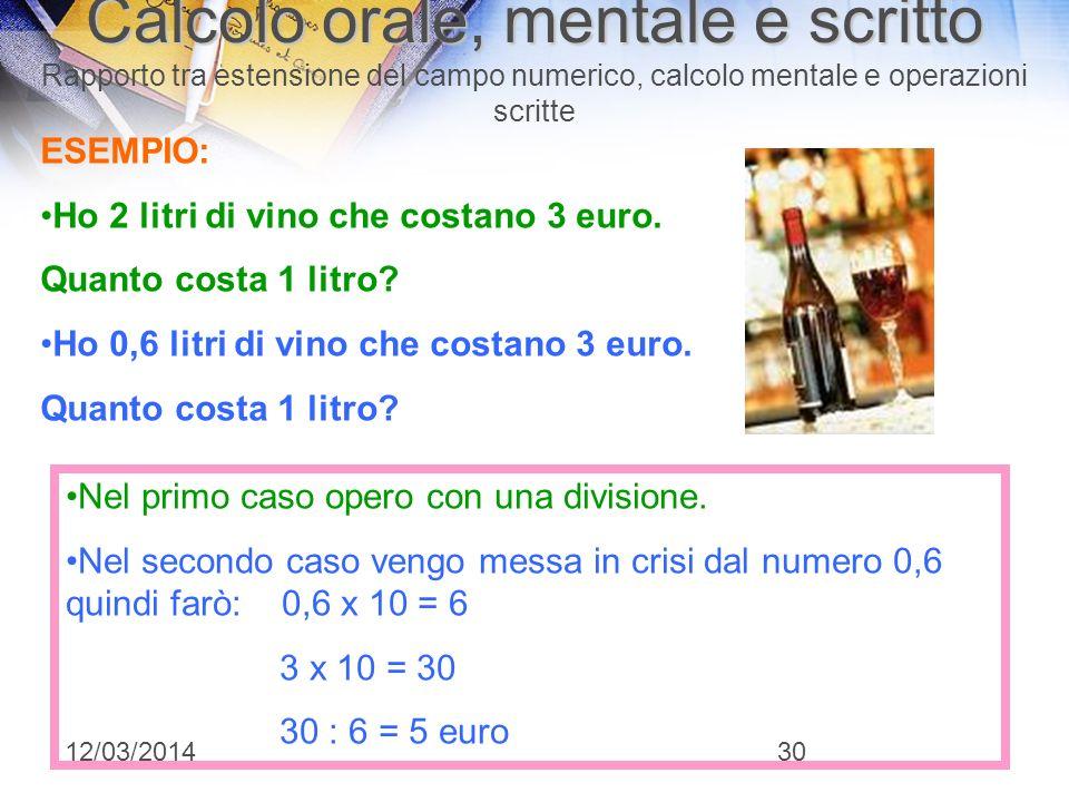 12/03/201429 Calcolo orale, mentale e scritto Calcolo orale, mentale e scritto Rapporto tra estensione del campo numerico, calcolo mentale e operazion