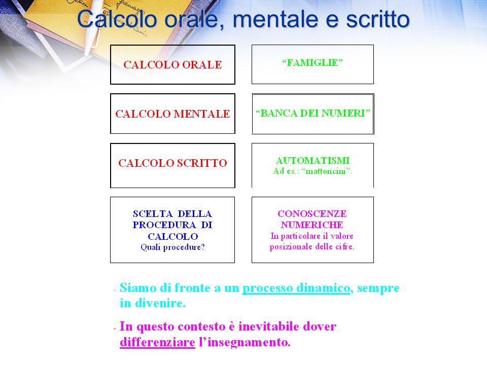 Calcolo orale, mentale e scritto Calcolo orale, mentale e scritto Rapporto tra estensione del campo numerico, calcolo mentale e operazioni scritte