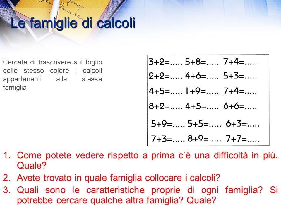 Le famiglie di calcoli 1.Possiamo trovare un elemento comune che ci permetta di riunire i calcoli per formare delle famiglie? A coppie provate a color