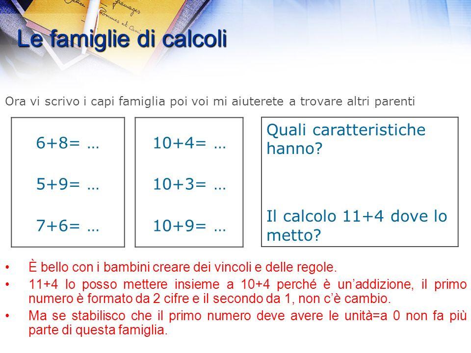 Le famiglie di calcoli 1.Come potete vedere rispetto a prima cè una difficoltà in più. Quale? 2.Avete trovato in quale famiglia collocare i calcoli? 3
