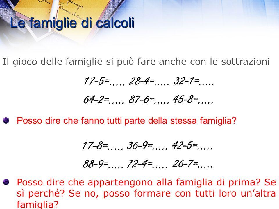 Le famiglie di calcoli 6+8= … 5+9= … 7+6= … 10+4= … 10+3= … 10+9= … È bello con i bambini creare dei vincoli e delle regole. 11+4 lo posso mettere ins