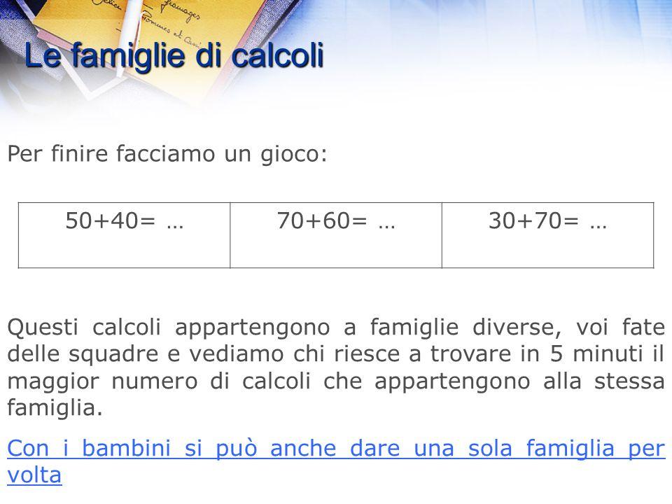 Le famiglie di calcoli 1.Appartengono alla stessa famiglia? Se sì, perché? (altri esempi) 2.Se no, quante famiglie possiamo formare? (altri esempi) 50