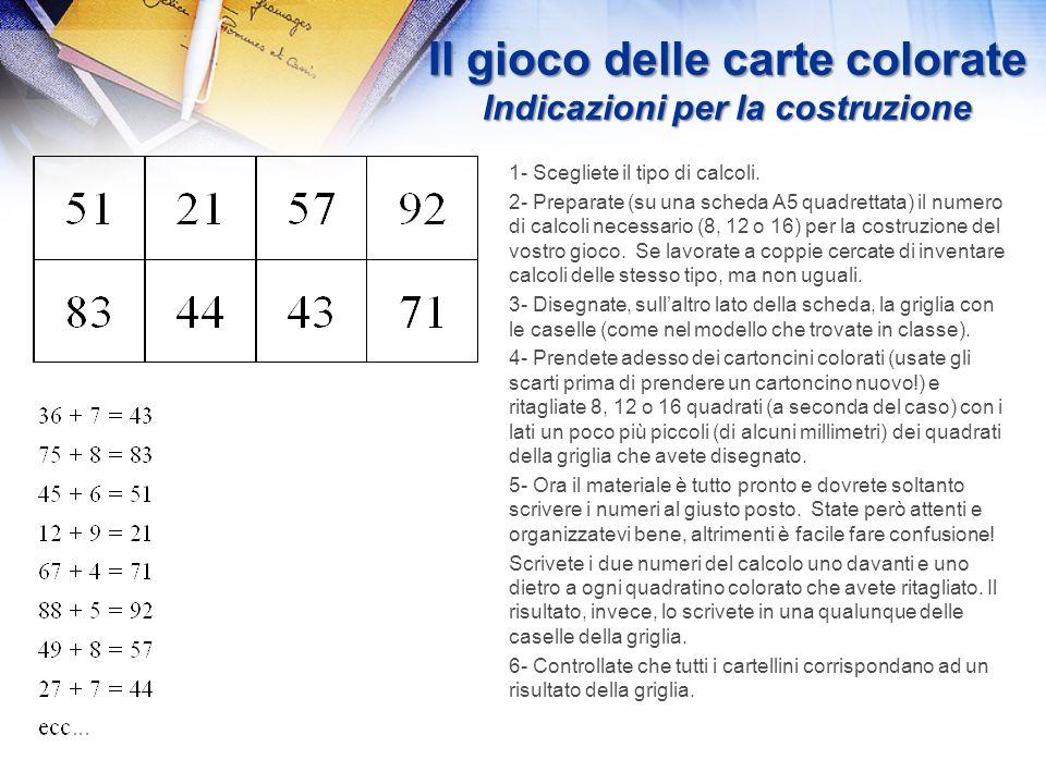Il gioco delle carte colorate Lo scopo del gioco è di impedire una visione d'insieme del calcolo (come nel calcolo mentale) e di permettere al bambino
