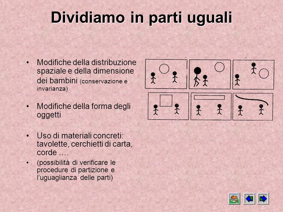 Dividiamo in parti uguali Dividiamo in parti uguali ( Una progressione di situazioni che mette in gioco il tema della partizione.) Gli obiettivi cogni