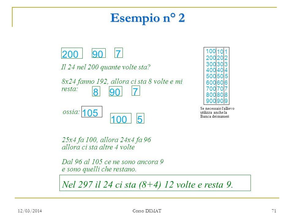 12/03/2014 Corso DIMAT 70 Esempio n° 2 Esempio di una procedura adottata da un allievo prima dell'apprendimento di una strategia più efficace. Sebbene