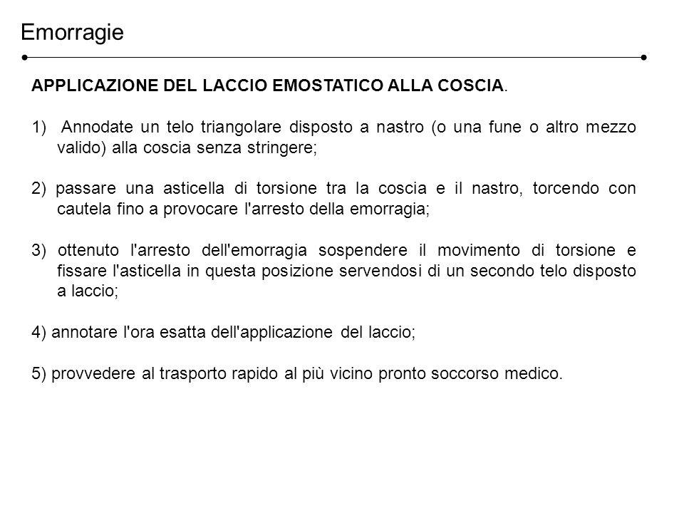 APPLICAZIONE DEL LACCIO EMOSTATICO ALLA COSCIA.