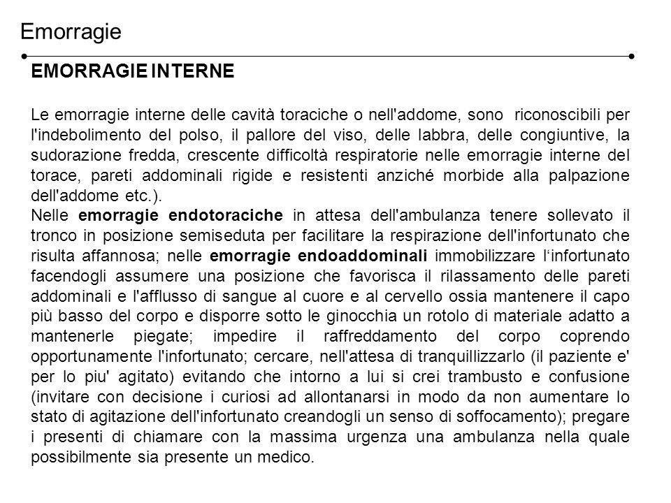 EMORRAGIE INTERNE Le emorragie interne delle cavità toraciche o nell'addome, sono riconoscibili per l'indebolimento del polso, il pallore del viso, de