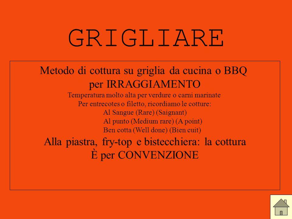 GRIGLIARE Metodo di cottura su griglia da cucina o BBQ per IRRAGGIAMENTO Temperatura molto alta per verdure o carni marinate Per entrecotes o filetto,