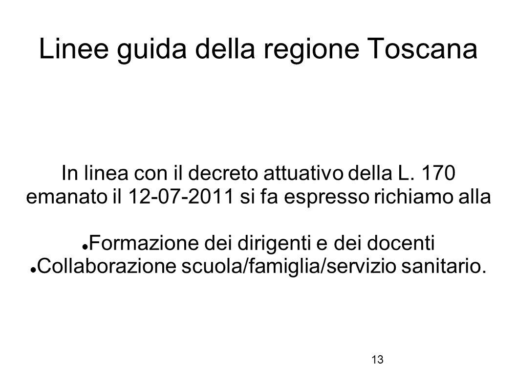 13 Linee guida della regione Toscana In linea con il decreto attuativo della L. 170 emanato il 12-07-2011 si fa espresso richiamo alla Formazione dei