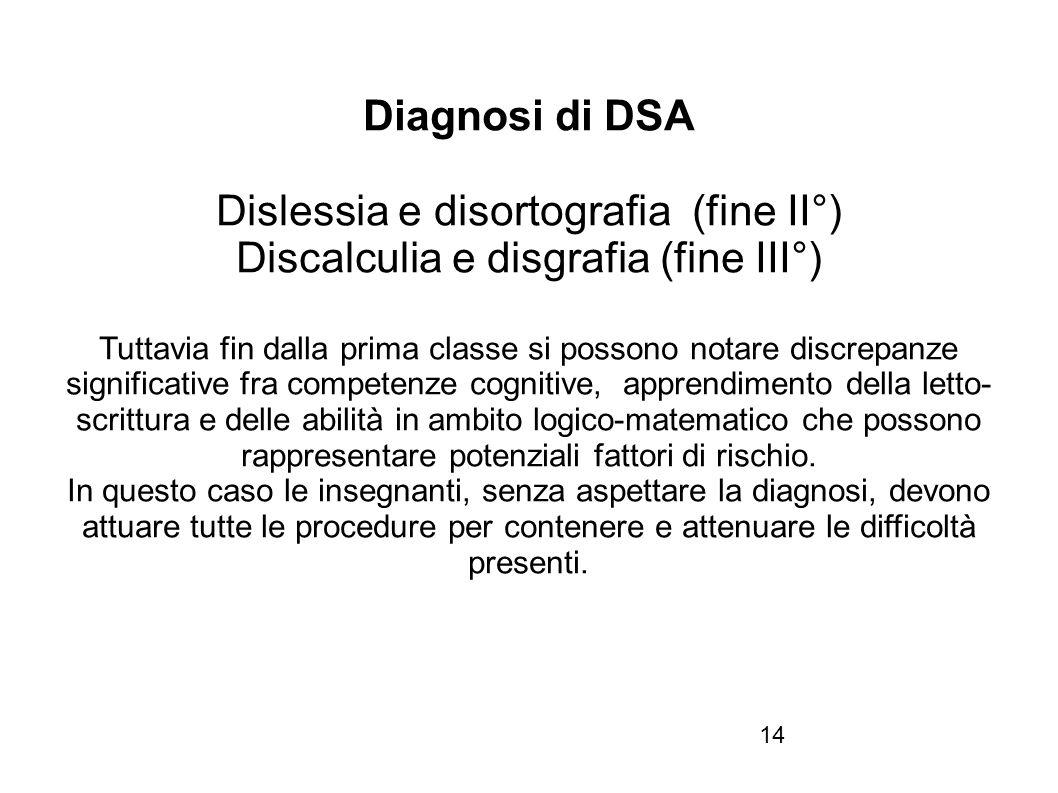14 Diagnosi di DSA Dislessia e disortografia (fine II°) Discalculia e disgrafia (fine III°) Tuttavia fin dalla prima classe si possono notare discrepa