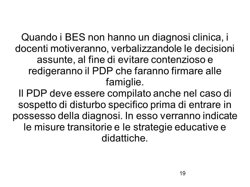 19 Quando i BES non hanno un diagnosi clinica, i docenti motiveranno, verbalizzandole le decisioni assunte, al fine di evitare contenzioso e redigeran