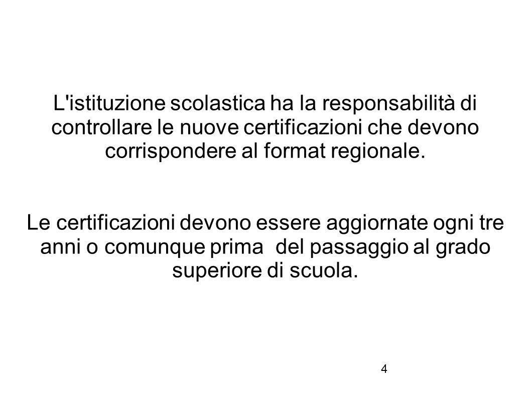 4 L'istituzione scolastica ha la responsabilità di controllare le nuove certificazioni che devono corrispondere al format regionale. Le certificazioni
