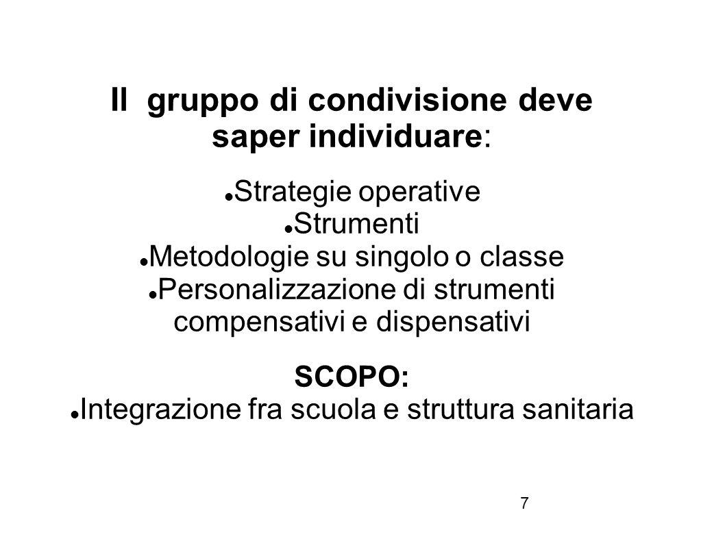 7 Il gruppo di condivisione deve saper individuare: Strategie operative Strumenti Metodologie su singolo o classe Personalizzazione di strumenti compe