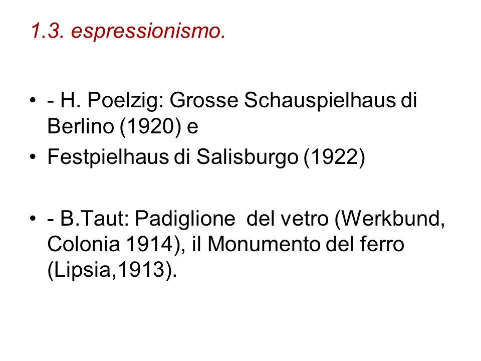 1.3. espressionismo. - H. Poelzig: Grosse Schauspielhaus di Berlino (1920) e Festpielhaus di Salisburgo (1922) - B.Taut: Padiglione del vetro (Werkbun