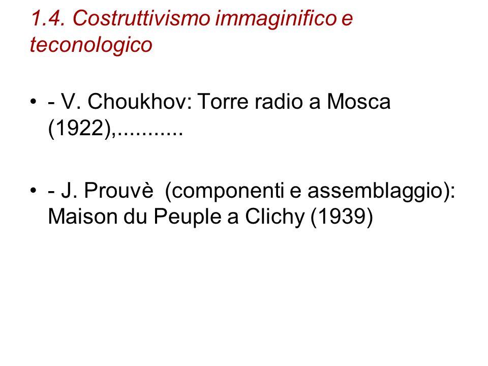 1.4. Costruttivismo immaginifico e teconologico - V. Choukhov: Torre radio a Mosca (1922),........... - J. Prouvè (componenti e assemblaggio): Maison