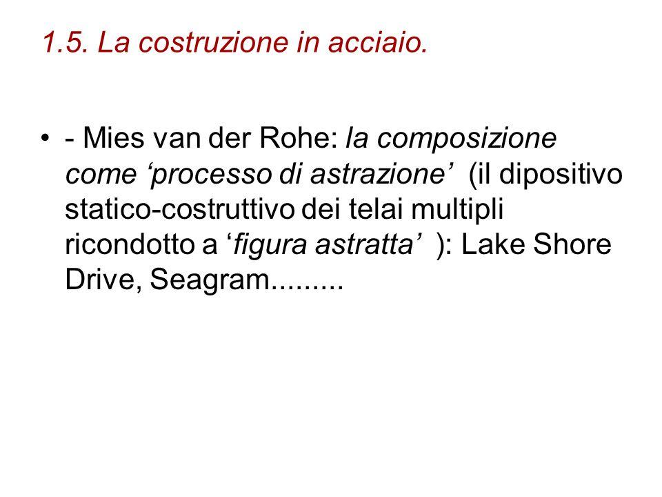 1.5. La costruzione in acciaio. - Mies van der Rohe: la composizione come processo di astrazione (il dipositivo statico-costruttivo dei telai multipli