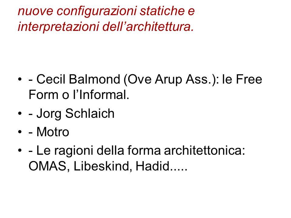 nuove configurazioni statiche e interpretazioni dellarchitettura. - Cecil Balmond (Ove Arup Ass.): le Free Form o lInformal. - Jorg Schlaich - Motro -