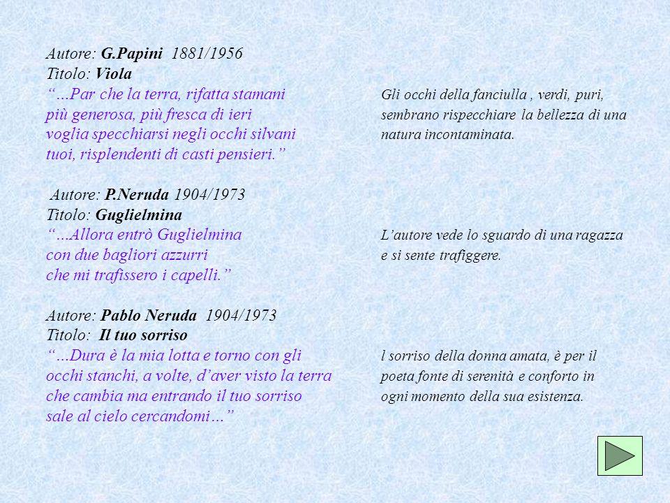 Autore: G.Papini 1881/1956 Titolo: Viola …Par che la terra, rifatta stamani Gli occhi della fanciulla, verdi, puri, più generosa, più fresca di ieri s