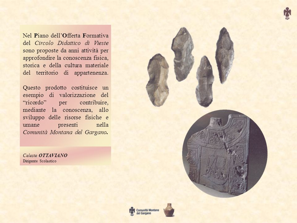 Nel Piano dellOfferta Formativa del Circolo Didattico di Vieste sono proposte da anni attività per approfondire la conoscenza fisica, storica e della cultura materiale del territorio di appartenenza.