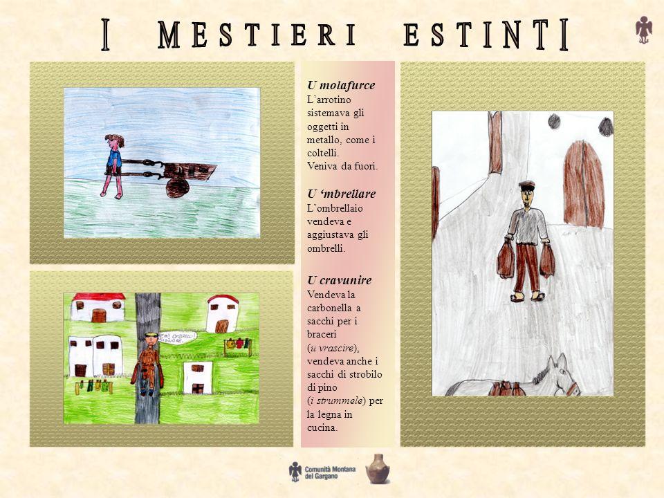 U molafurce Larrotino sistemava gli oggetti in metallo, come i coltelli. Veniva da fuori. U mbrellare Lombrellaio vendeva e aggiustava gli ombrelli. U