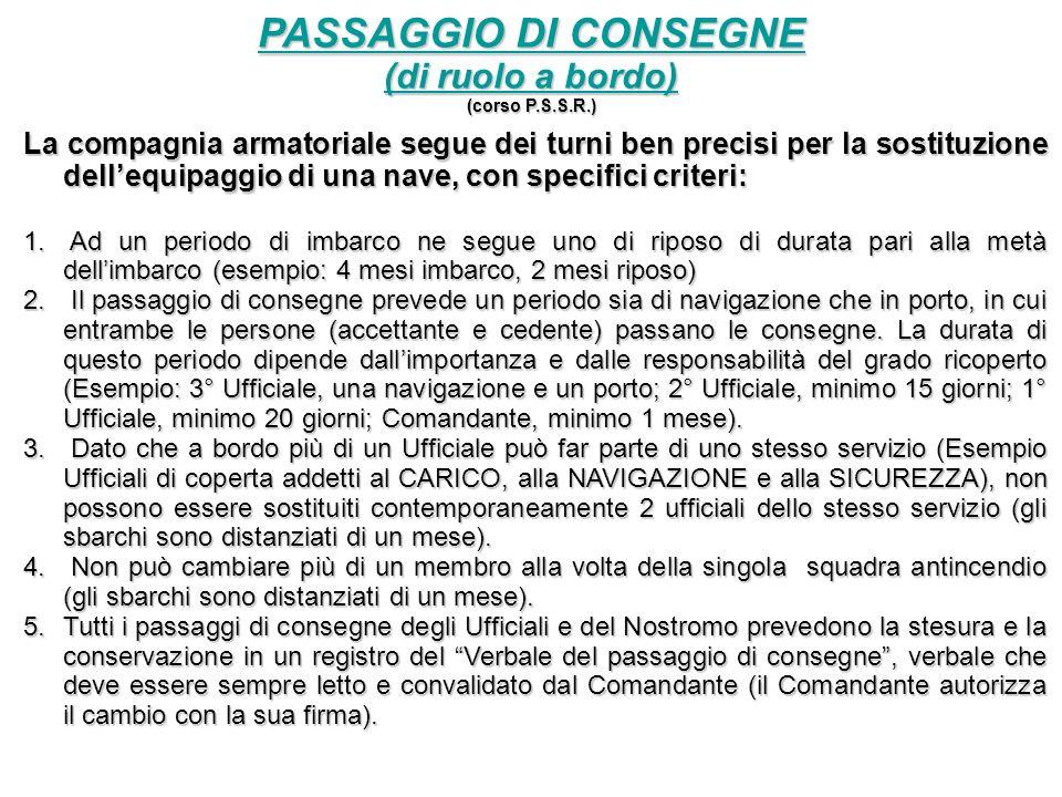 PASSAGGIO DI CONSEGNE (di ruolo a bordo) (corso P.S.S.R.) La compagnia armatoriale segue dei turni ben precisi per la sostituzione dellequipaggio di una nave, con specifici criteri: 1.