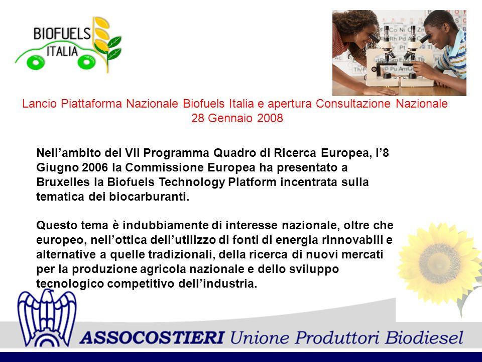 Nellambito del VII Programma Quadro di Ricerca Europea, l8 Giugno 2006 la Commissione Europea ha presentato a Bruxelles la Biofuels Technology Platfor