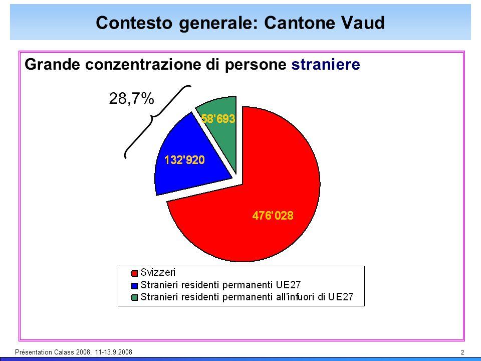 Présentation Calass 2008, 11-13.9.2008 2 Contesto generale: Cantone Vaud Grande conzentrazione di persone straniere 28,7%