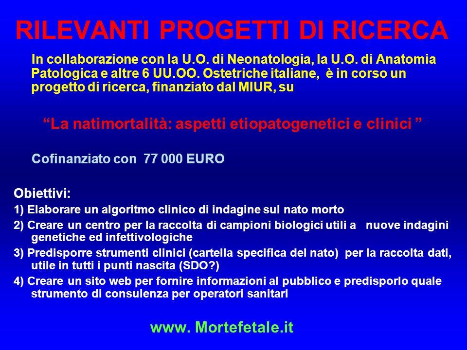 RILEVANTI PROGETTI DI RICERCA In collaborazione con la U.O.