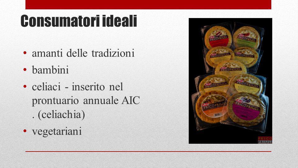 Consumatori ideali amanti delle tradizioni bambini celiaci - inserito nel prontuario annuale AIC. (celiachia) vegetariani