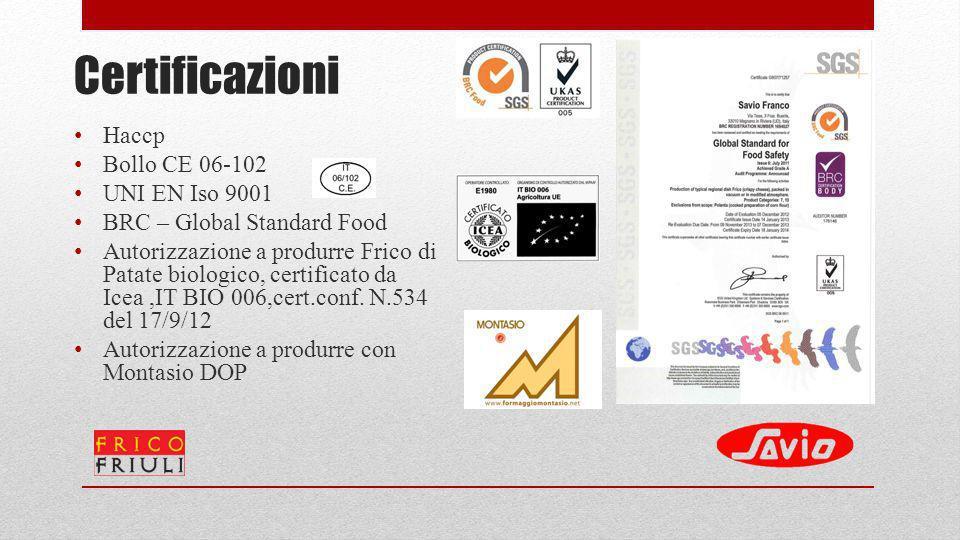 Certificazioni Haccp Bollo CE 06-102 UNI EN Iso 9001 BRC – Global Standard Food Autorizzazione a produrre Frico di Patate biologico, certificato da Ic