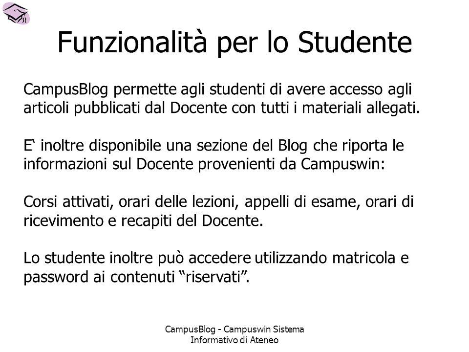 CampusBlog - Campuswin Sistema Informativo di Ateneo Funzionalità per lo Studente CampusBlog permette agli studenti di avere accesso agli articoli pubblicati dal Docente con tutti i materiali allegati.