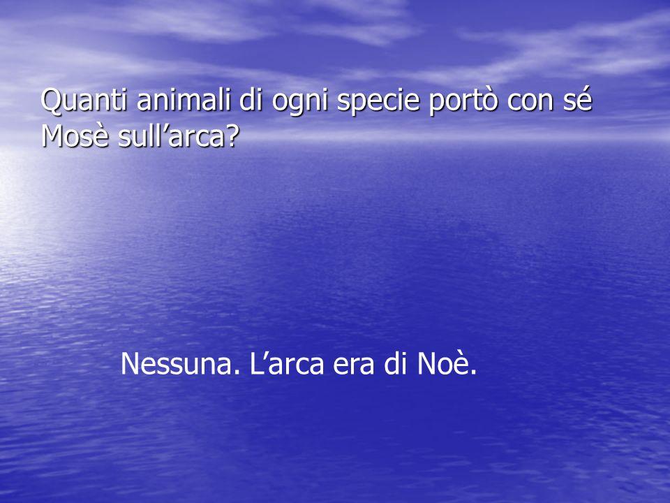 Quanti animali di ogni specie portò con sé Mosè sullarca? Nessuna. Larca era di Noè.