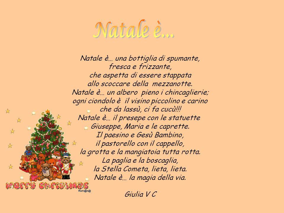 Natale è… una bottiglia di spumante, fresca e frizzante, che aspetta di essere stappata allo scoccare della mezzanotte. Natale è… un albero pieno i ch
