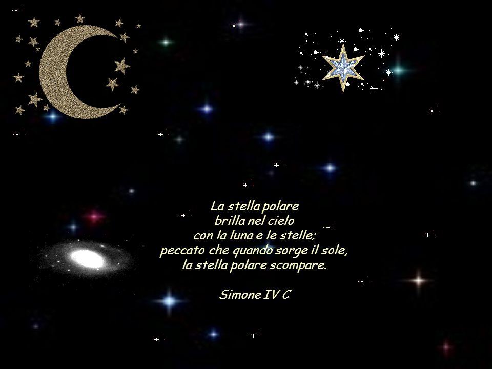 La stella polare brilla nel cielo con la luna e le stelle; peccato che quando sorge il sole, la stella polare scompare. Simone IV C