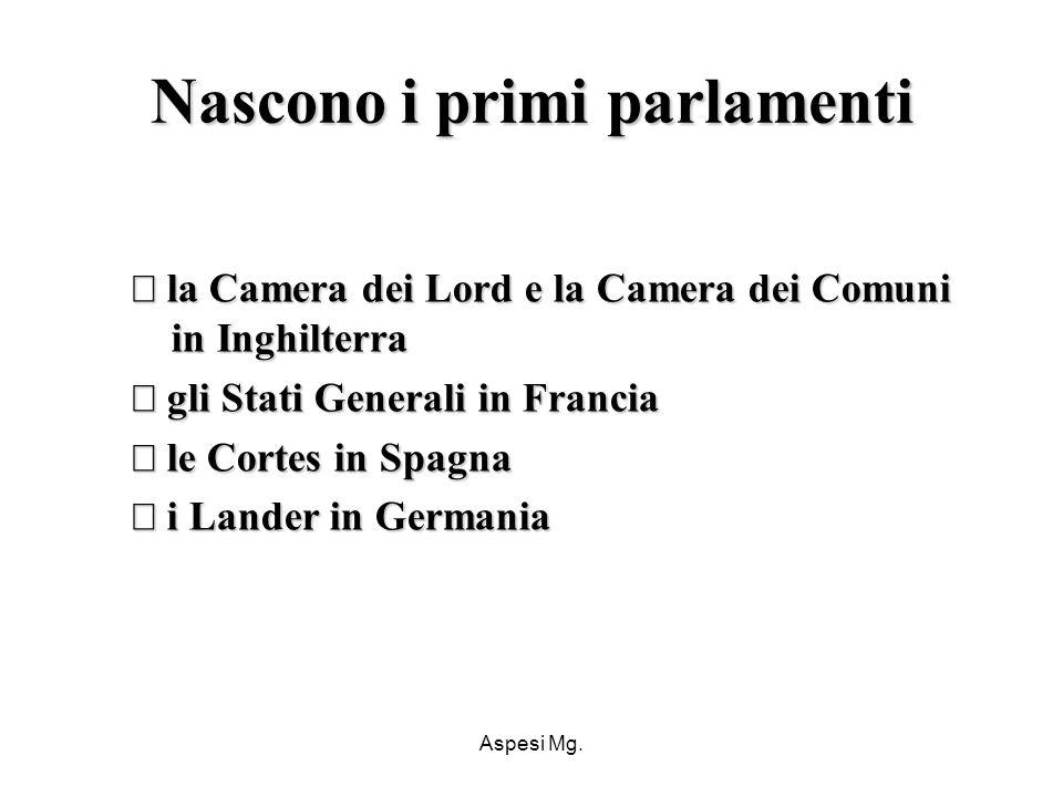 Aspesi Mg. Nascono i primi parlamenti la Camera dei Lord e la Camera dei Comuni in Inghilterra la Camera dei Lord e la Camera dei Comuni in Inghilterr