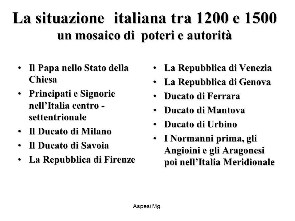 Aspesi Mg. La situazione italiana tra 1200 e 1500 un mosaico di poteri e autorità Il Papa nello Stato della ChiesaIl Papa nello Stato della Chiesa Pri