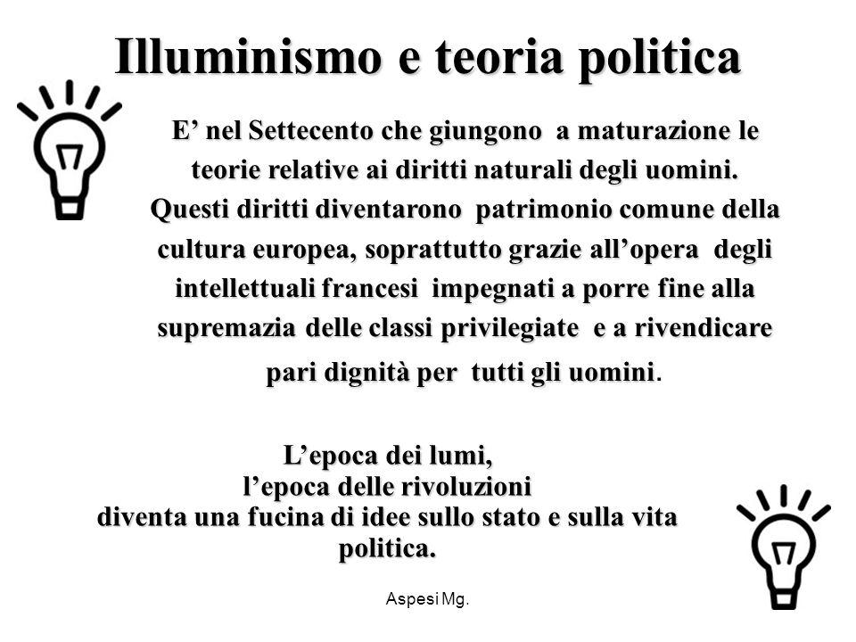 Aspesi Mg. Illuminismo e teoria politica E nel Settecento che giungono a maturazione le teorie relative ai diritti naturali degli uomini. Questi dirit