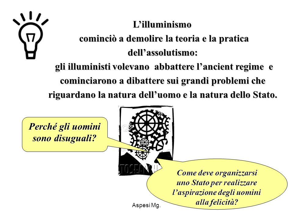 Aspesi Mg. Lilluminismo cominciò a demolire la teoria e la pratica dellassolutismo: gli illuministi volevano abbattere lancient regime e cominciarono