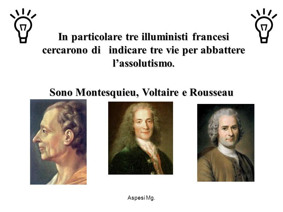 Aspesi Mg. In particolare tre illuministi francesi cercarono di indicare tre vie per abbattere lassolutismo. Sono Montesquieu, Voltaire e Rousseau