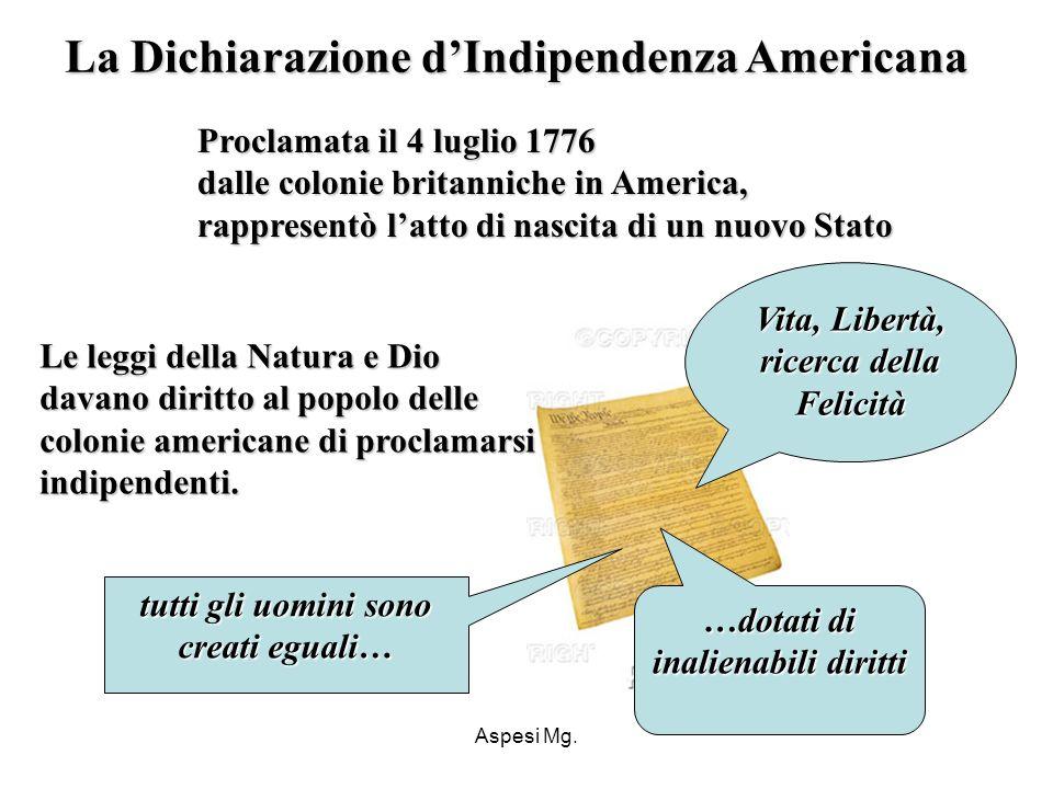 Aspesi Mg. Le leggi della Natura e Dio davano diritto al popolo delle colonie americane di proclamarsi indipendenti. Le leggi della Natura e Dio davan